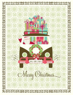 Christmas Santa Vanagon of Gifts greeting Card