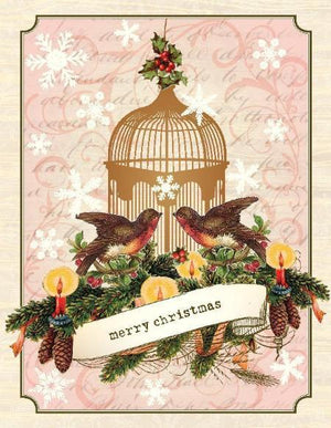 Merry Christmas vintage Bird Cage greeting Card
