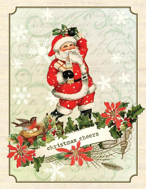 VC9084-Aviary Christmas Cheers Santa Card