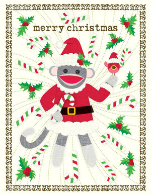 Christmas Sock Monkey Santa Greeting Card