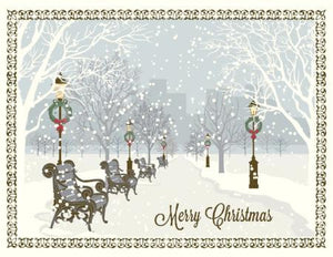 Christmas Snowy City Park Scene greeting Card