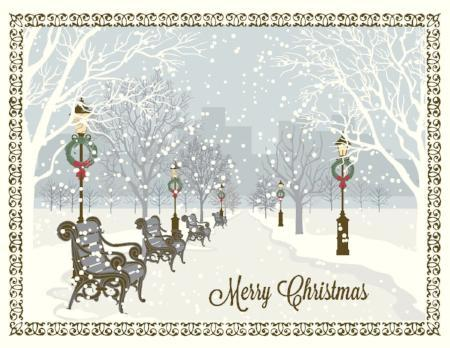 Holiday Cards Online >> Snowy City Park Scene