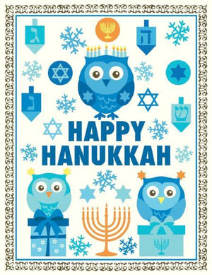 Happy Hanukkah Woodland Owl greeting Card