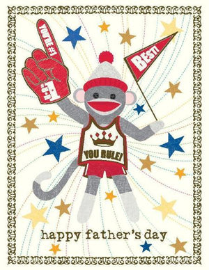 Sock Monkey Fathers Day Greeting Card