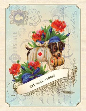 Vintage Saint Bernard Get Well Greeting Card