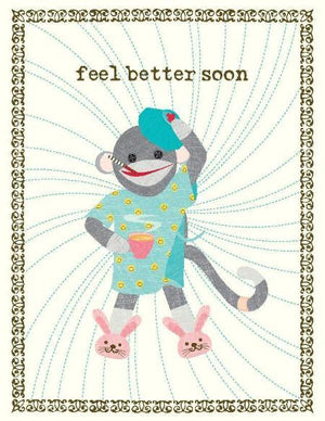 VG9009-Sock Monkey Get Well Card