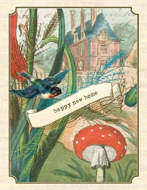 Vintage House with Mushrooms Happy New Home Greeting Card