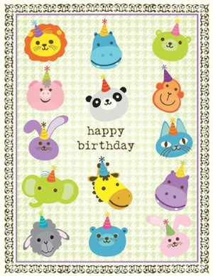children Animal Faces Birthday Card