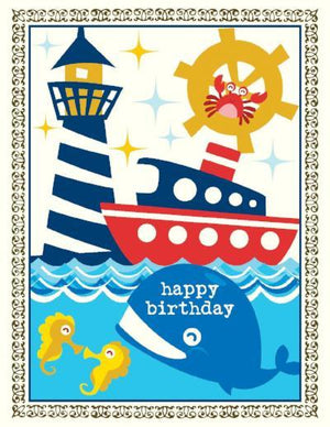 kids Whale Nautical Birthday Card