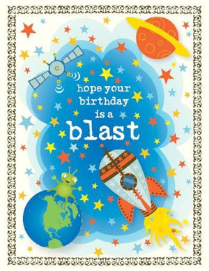 kids Space Blast Birthday Card
