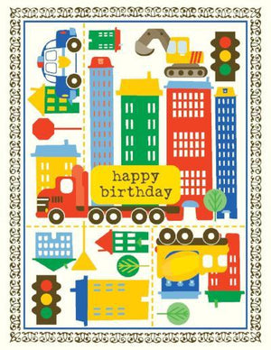 children City Trucks Birthday Card