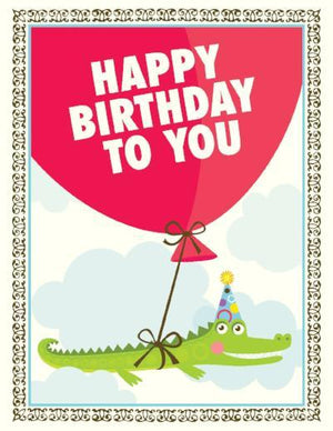 children Alligator Balloon birthday Card
