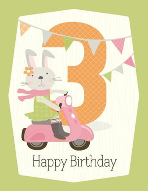 Kids bunny riding scooter 3rd  Birthday Card