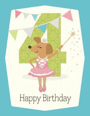 kids ballerina 4th Birthday Card