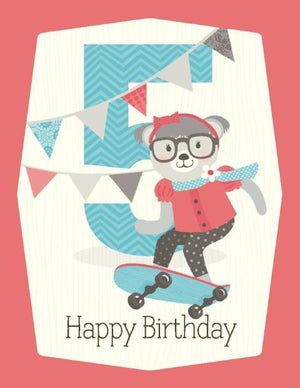 kid 5th Birthday Card skateboard
