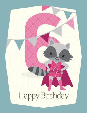 kids pink Raccoon super hero 6th Birthday Card