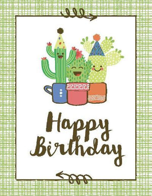 kids cactus trio birthday greeting card