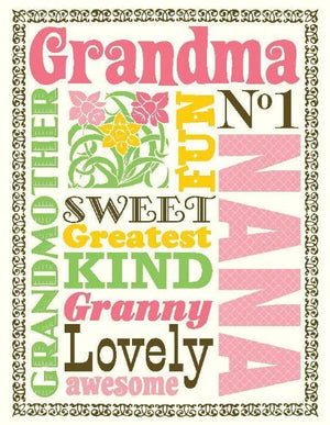 Multi Saying Grandma greeting Card
