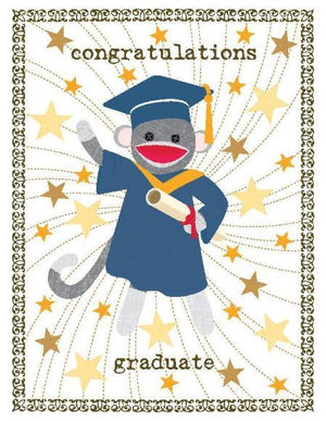 Sock Monkey Graduate greeting card