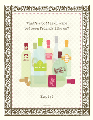 Bottle of Wine between Friends greeting Card