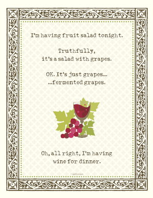 Fruit salad, Wine for Dinner greeting Card