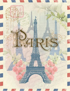 Vintage Post air mail Paris greeting Card