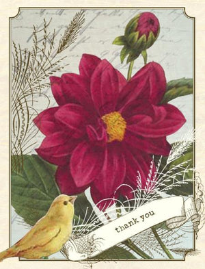 Vintage Canary Red Daisy Thank You Greeting Card