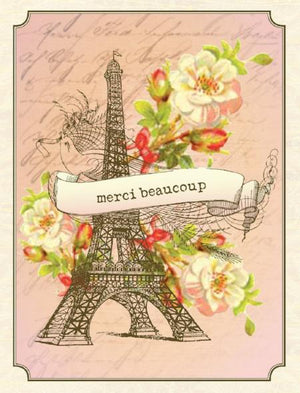 Vintage Eiffel Tower Merci Beaucoup Greeting Card