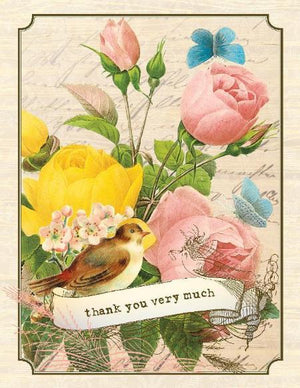Vintage Roses Thank You Very Much Greeting Card