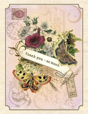 Vintage Butterflies Thank You So Much Greeting Card