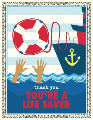 Nautical You're A Life Saver Thank You Greeting Card