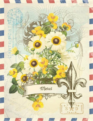 Vintage Air Mail Fleur De Lis Merci Greeting Card