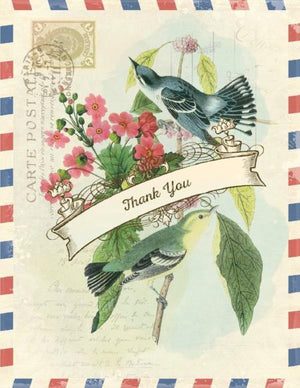 Vintage Air Mail Blue Birds Thank You Greeting Card