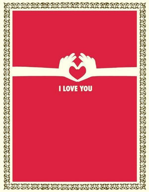 Hand hearts, love you valentine greeting card