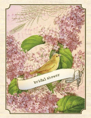 vintage lilacs and yellow canary bridal shower wedding greeting card