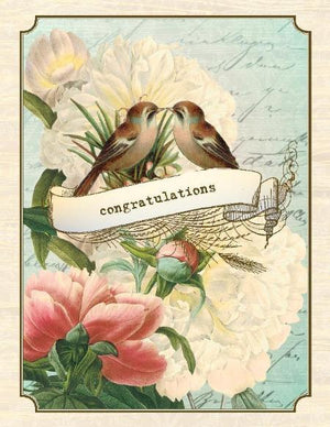 Vintage Love birds congratulations wedding greeting card