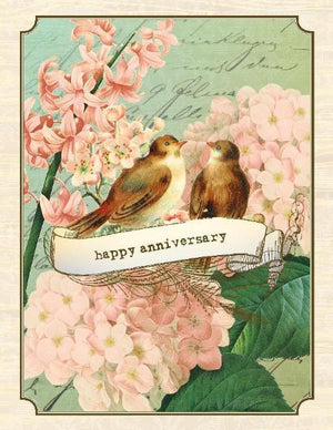 Vintage love birds with flowers anniversary greeting card