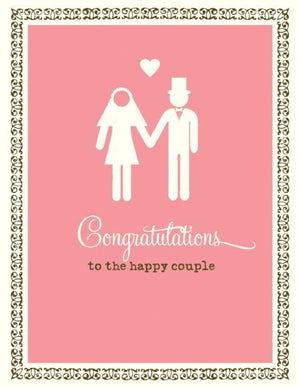 stick figure bride and groom wedding card