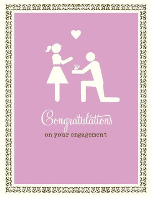 stick figure bride and groom engagement congrats wedding card