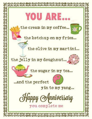 You complete me anniversary love greeting Card