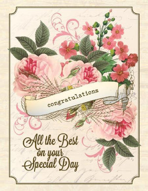 Vintage Floral arrangement Special Day Wedding Card