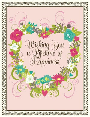 Floral Heart Wishing you a lifetime of happiness wedding card