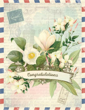 Vintage air mail floral Congrats Card