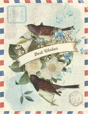 Vintage Air Mail with Birds Best Wishes greeting Card