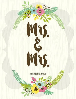 Mrs & Mrs posie boquet Congrats wedding Card