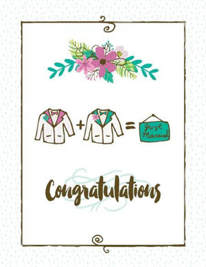 Just Married groom and groom wedding greeting card