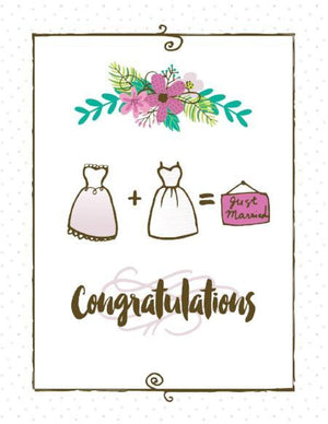 just married bride and bride wedding greeting card