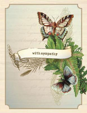 Vintage Greenery and Butterfly With Sympathy greeting Card