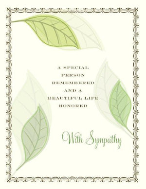 Green Leaves A Life Honored Sympathy Greeting Card