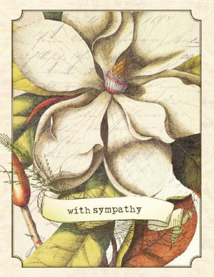 Vintage Magnolia With Sympathy Greeting Card